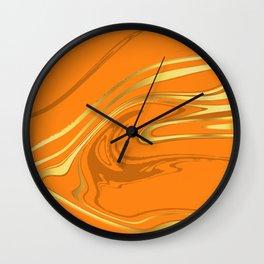 Orange Gold Marble Wall Clock