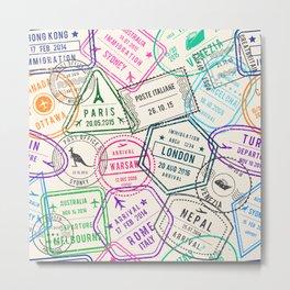 Passport to Adventure Vintage Style Travel Stamps Pattern Metal Print
