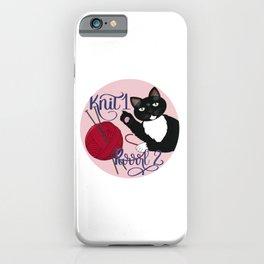 Knit 1 Purrrl 2 cat lover knitter knitting design iPhone Case