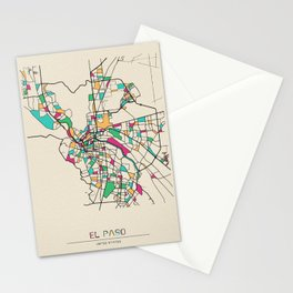 Colorful City Maps: El Paso, Texas Stationery Cards
