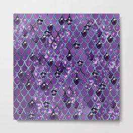 Purple Teal Mermaid Scales Glam #1 #shiny #decor #art #society6 Metal Print