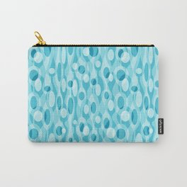 Turquoise Mid Century Modern Oval Geometric Carry-All Pouch