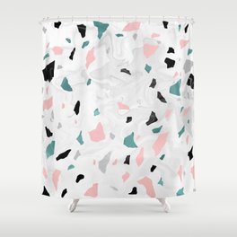 Shining, Spring Rose, Terrazzo. Shower Curtain