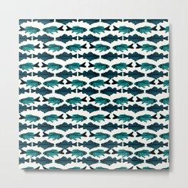 Fish (blue on white) Metal Print
