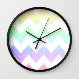 Watercolor Chevrons Wall Clock