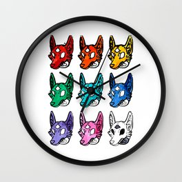 Candy Colored Space Coyotes Wall Clock