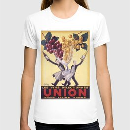 Vintage Union Bar Italian Wine Waiters Advertisement Poster T-shirt