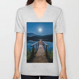 Bright Night Sky at British Columbia Unisex V-Neck
