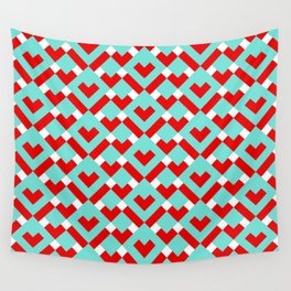 Graphic Hearts Pattern (Christmas Candy Color Palette) Wall Tapestry