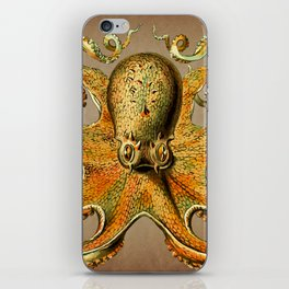 Vintage Golden Octopus iPhone Skin