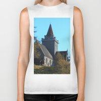 scotland Biker Tanks featuring Crathie Church, Balmoral, Scotland by Phil Smyth