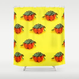 Collage of handmade pumpkins made from felt wool to celebrate Halloween Shower Curtain