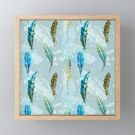 Floating Exotic Feathers Sophisticated Pattern Framed Mini Art Print
