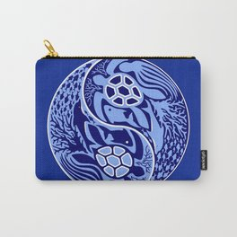 Yin Yang Marine Life Sign Classic Blue Monochrome Carry-All Pouch