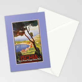 Ischia Island Italy summer travel ad Stationery Cards