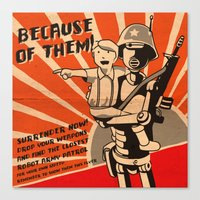 propaganda Canvas Prints featuring Propaganda Series by Alex.Raveland...robot.design.digital.art