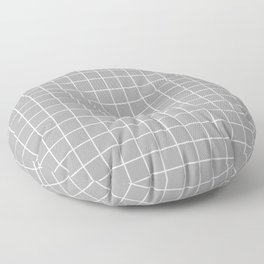 Quick Silver - grey color - White Lines Grid Pattern Floor Pillow
