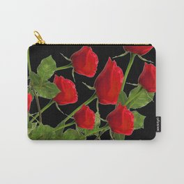 RED LONG STEM ROSES BLACK  BOTANICAL ART Carry-All Pouch