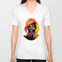 beach V-neck T-shirts featuring beach by Alvaro Tapia Hidalgo