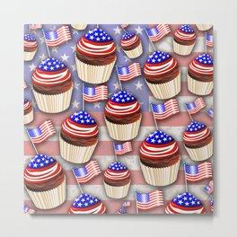USA Flag Cupcakes Pattern Metal Print