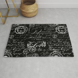 White Vintage Handwriting on Black Rug