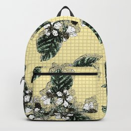 Bramble Flower on Yellow Mosaic Backpack
