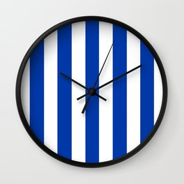 Royal azure - solid color - white vertical lines pattern Wall Clock