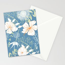 Flowers on Blue Background2 Stationery Cards