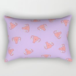 Crazy Happy Uterus in Purple, Large Rectangular Pillow