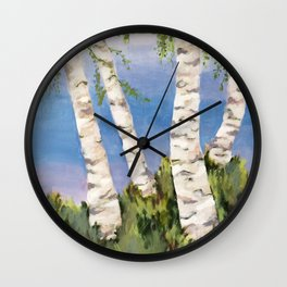 Four Birch on the Lake Wall Clock
