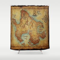 """pirates Shower Curtains featuring Pirates Map by """"CVogiatzi."""