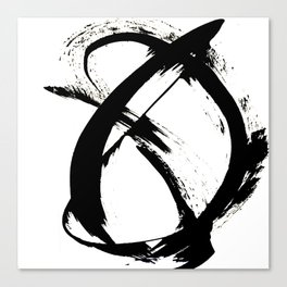 Brushstroke 7: a minimal, abstract, black and white piece Canvas Print