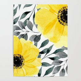 Big yellow watercolor flowers Poster
