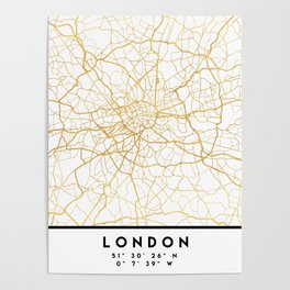 LONDON ENGLAND CITY STREET MAP ART Poster