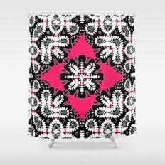 Geometric Tribal Hot Pink & Black Shower Curtain