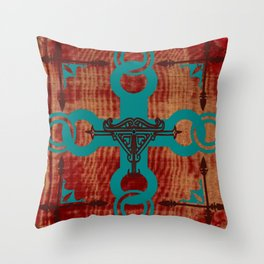 Rustic Turquoise Cross Throw Pillow