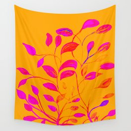 Peaches and Cream Red Leaves Wall Tapestry