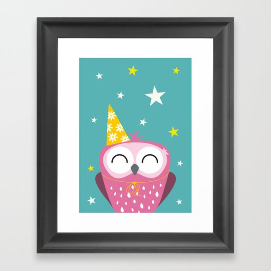 Party Owl Framed Art Print