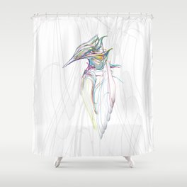 Kingfisher 1c. Color lines on white background-(Red eyes series) Shower Curtain