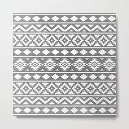 Aztec Essence Ptn III White on Grey Metal Print