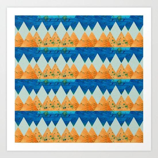 Opposites Love - Orange & Blue Art Print