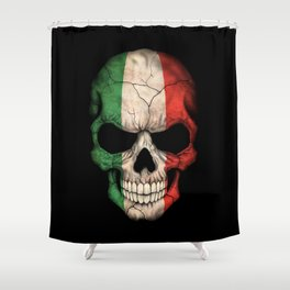 Dark Skull with Flag of Italy Shower Curtain
