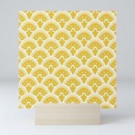Fan Pattern Mustard Yellow 201 Mini Art Print