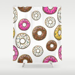 Funfetti Donuts - White Shower Curtain