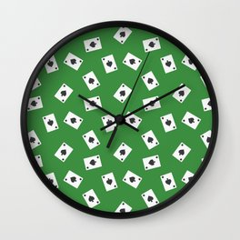 Playing cards spades suit on green Wall Clock