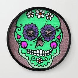 Dia De Los Muertos Mexican Sugar Skull Green Wall Clock