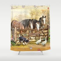 farm Shower Curtains featuring Featherwell Farm by Trudi Simmonds