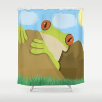 spawn Shower Curtains featuring Frog by Nir P