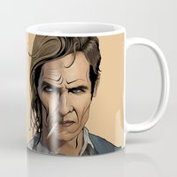 true detective Mugs featuring True Detective by Pop Vulture