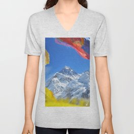 Summit of mount Everest or Chomolungma - highest mountain in the world, view from Kala Patthar,Nepal Unisex V-Neck